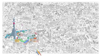 Poster à colorier XXL Paris / 180 x 100 cm - OMY Design & Play blanc,noir en papier