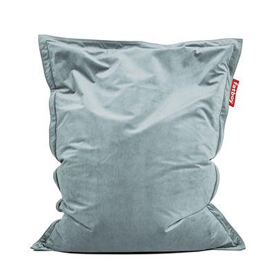 Pouf Original Slim Velvet / Velours - 155 x 120 cm - Fatboy 155 x 120 cm bleu calcite en tissu