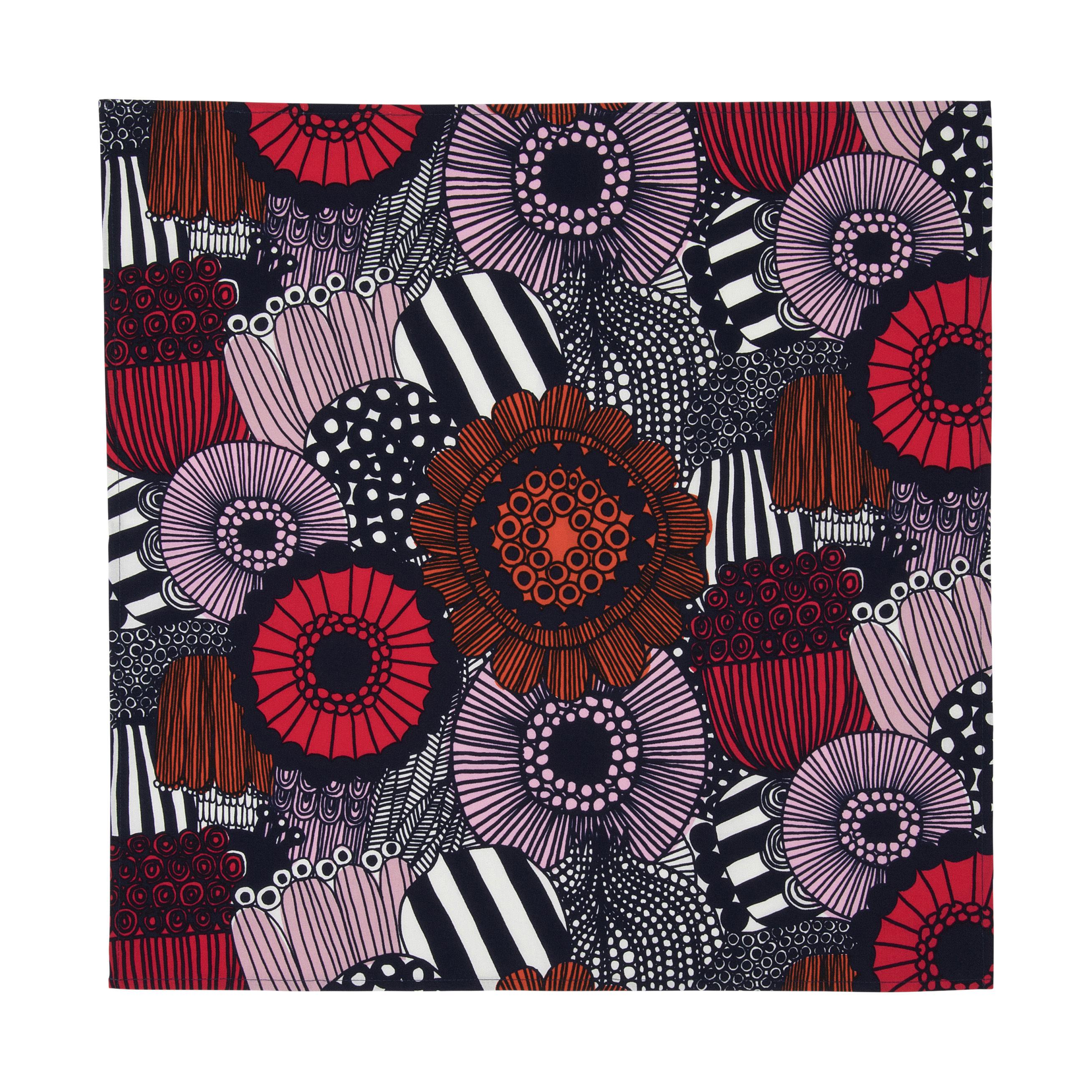 Arts de la table - Nappes, serviettes et sets - Serviette de table Pieni Siirtolapuutarha / Coton - 47 x 47 cm - Marimekko - Siirtolapuutarha / Tons rouges - Coton