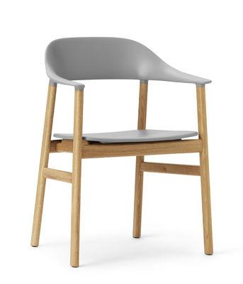 Möbel - Lounge Sessel - Herit Sessel / Stuhlbeine aus Eiche - Normann Copenhagen - Grau / Eiche - Eiche, Polypropylen