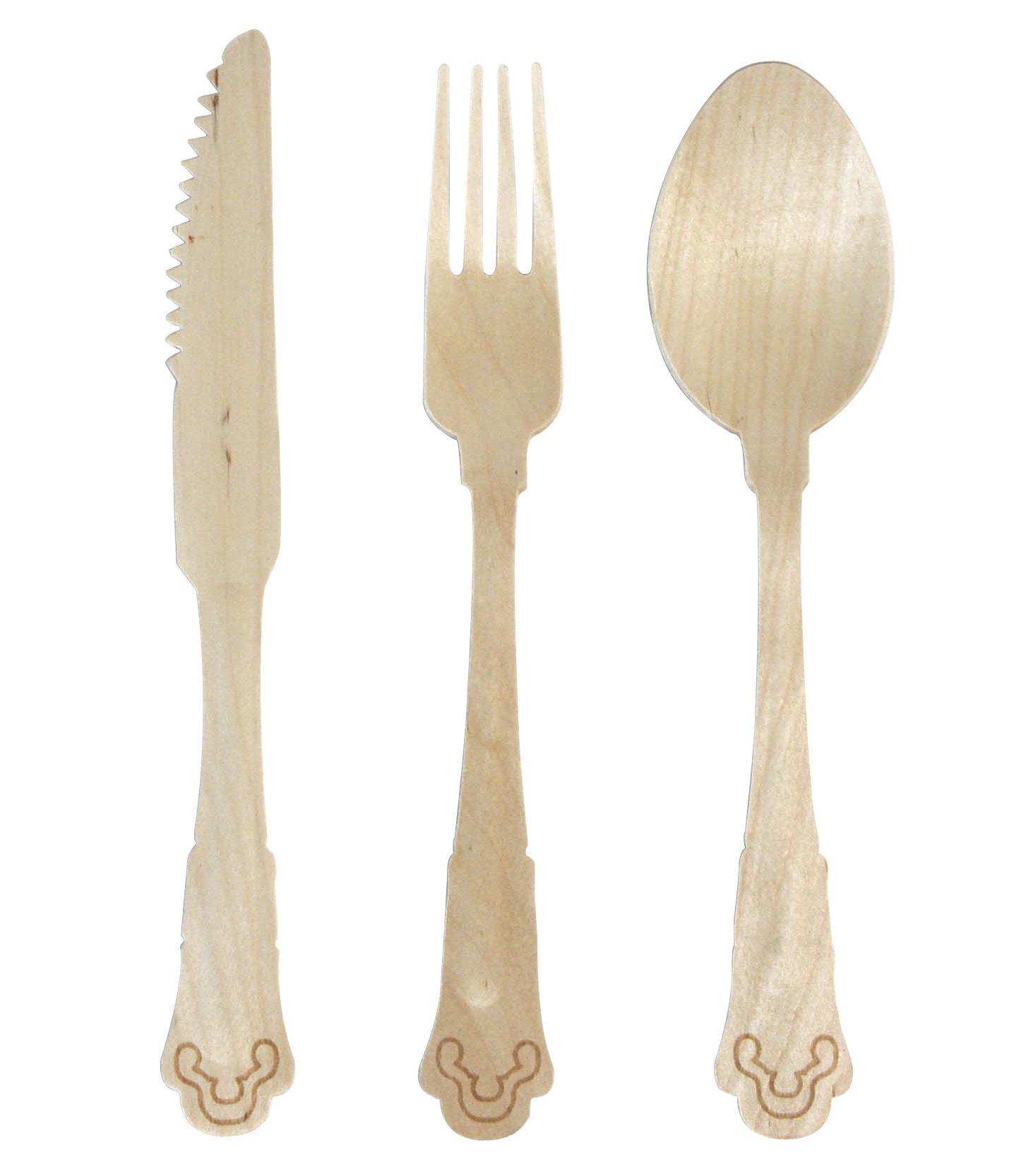 Tavola - Posate - Set di posate Tablée - Set di posate monouso con tovaglilo di cotone di Seletti - legno/ bianco - Carta, Cotone, Legno