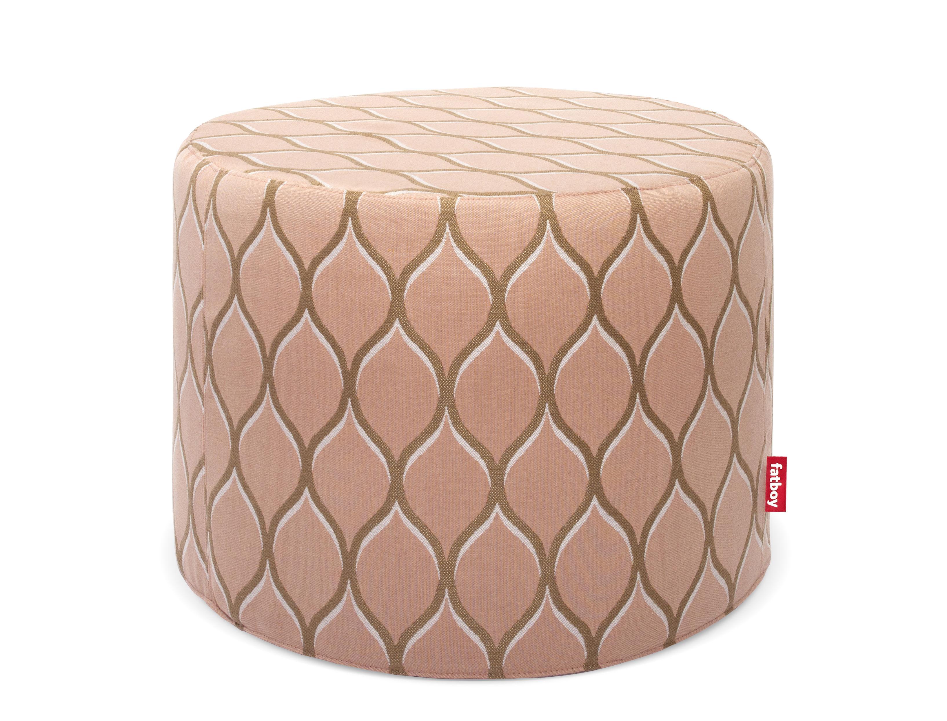 Möbel - Sitzkissen - Rondeju Sitzkissen / outdoorgeeignet - Ø 61 cm - Fatboy - Dragée-Muster / rosa - polymerbeschichtete Holzfaserplatte, Schaumstoff, Sunbrella-Gewebe, Thermoplastique
