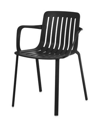 Furniture - Chairs - Plato Stackable armchair - / Aluminium by Magis - Black - Aluminium injecté verni, Painted cast aluminium