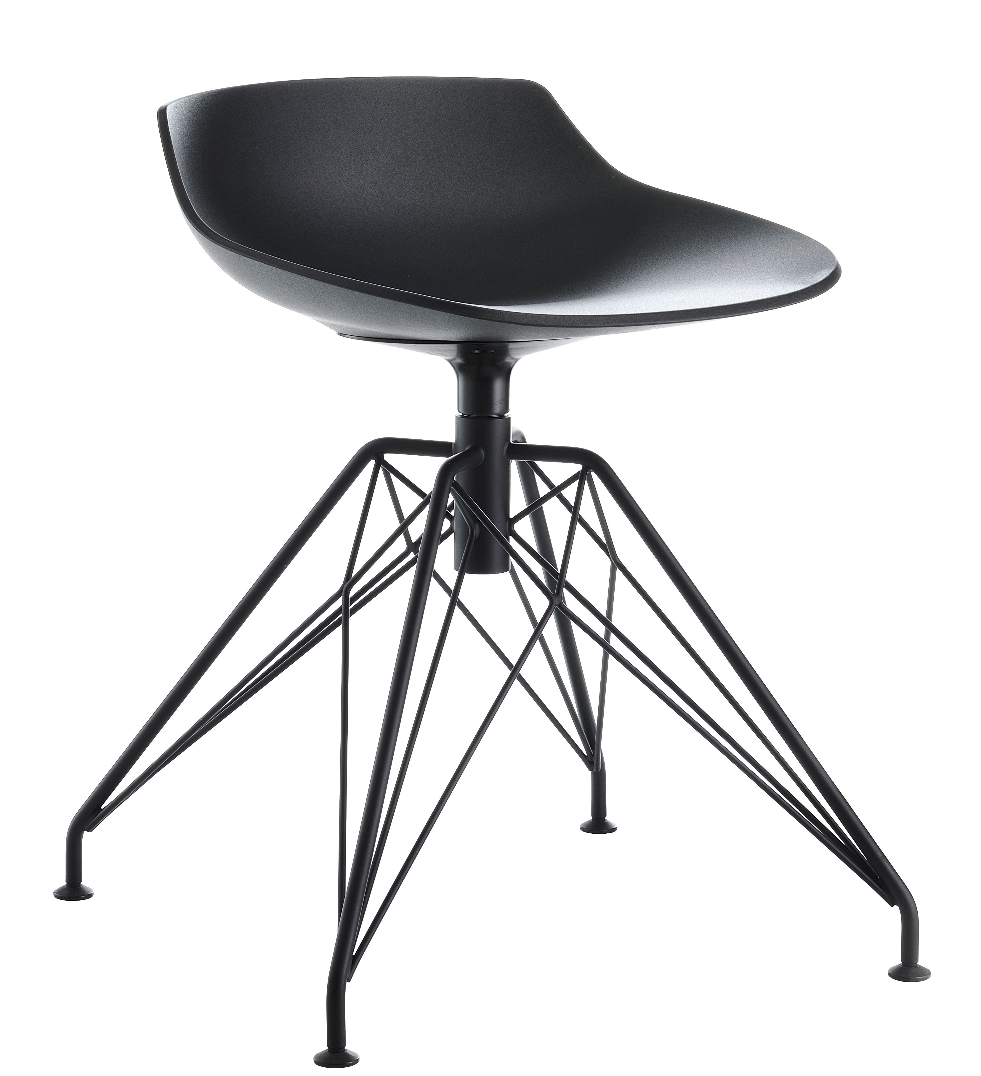 Furniture - Stools - Flow Stool by MDF Italia - Black / Graphite leg - Painted steel, Polyurethane