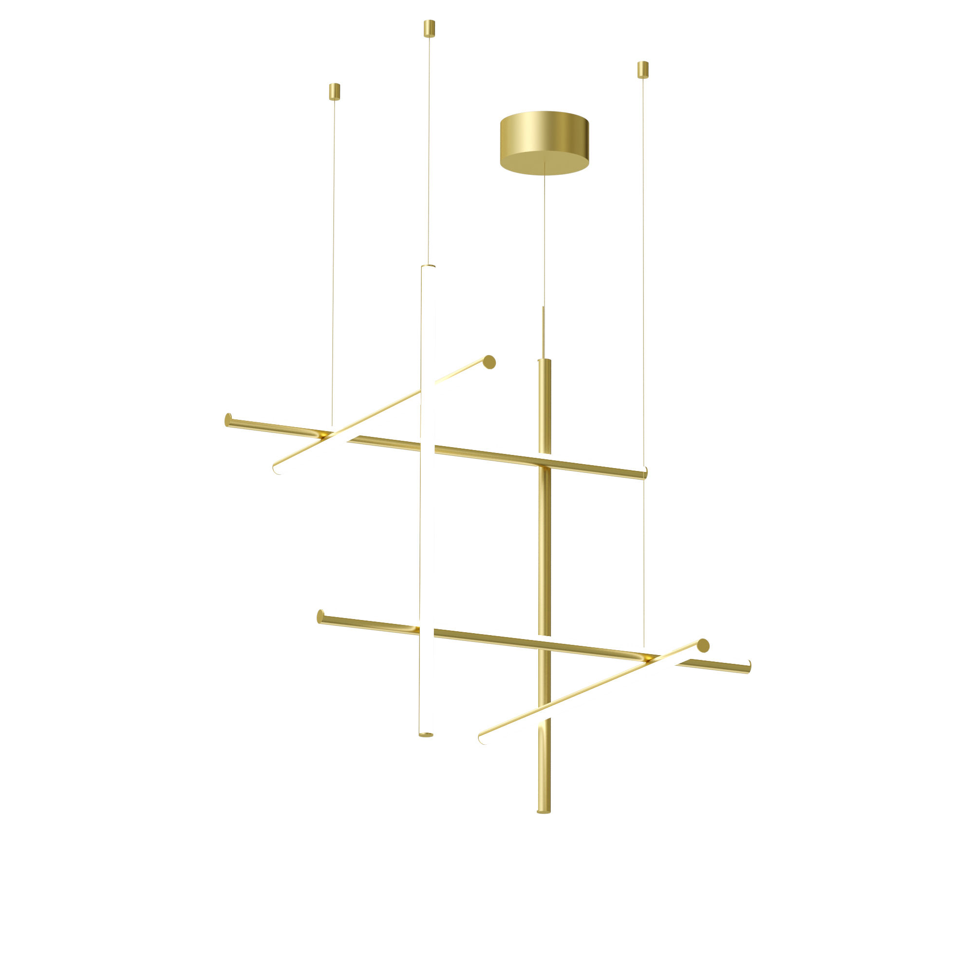 Luminaire - Suspensions - Suspension Coordinates S3 LED / L 78 x H 78 cm - Flos - Champagne anodisé - Aluminium extrudé