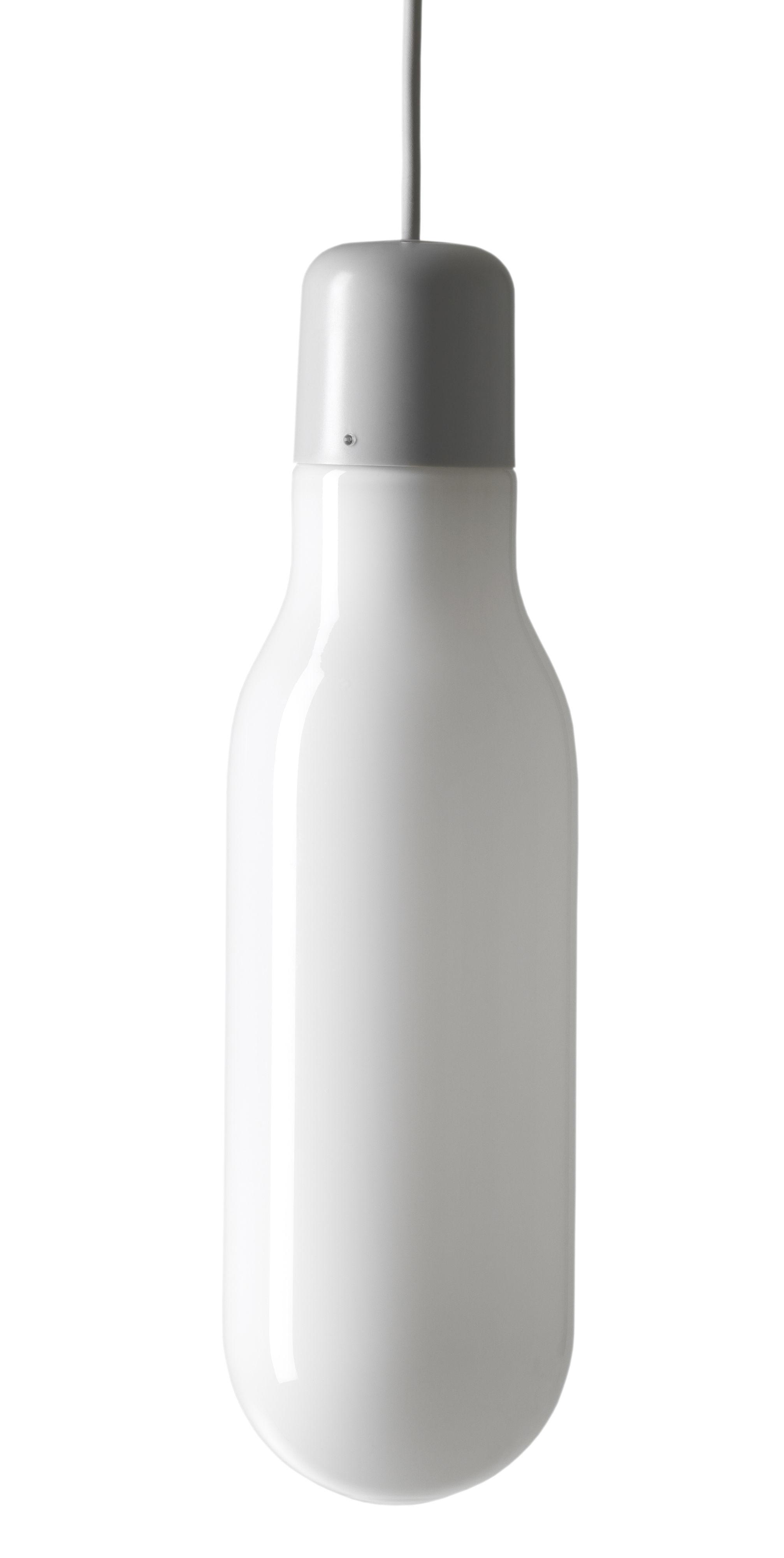Luminaire - Suspensions - Suspension Form / Tube - Design House Stockholm - Tube / Blanc & gris - Verre soufflé bouche