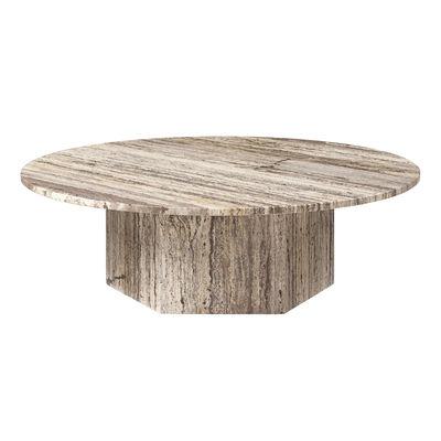 Mobilier - Tables basses - Table basse Epic / Travertin - Ø 110 cm - Gubi - Gris vibrant / Ø 110 cm - Travertin