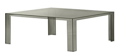 Table basse Invisible Low / 100 x 100 x H 31 cm - Kartell fumé en matière plastique