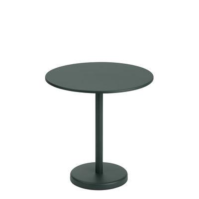 Jardin - Tables de jardin - Table ronde Linear Café / Ø 70 cm - Acier - Muuto - Vert foncé - Acier
