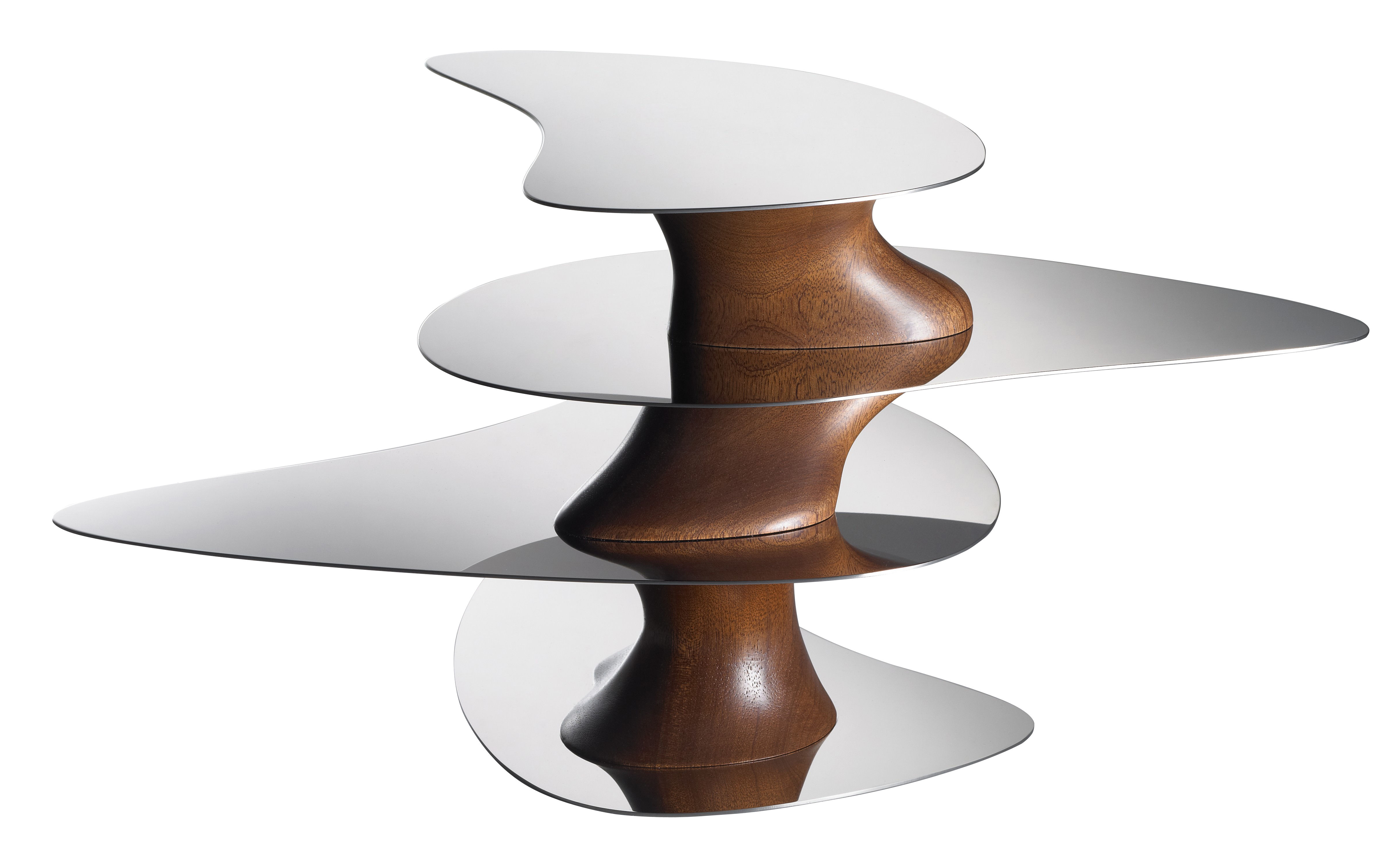 Tischkultur - Platten - Floating Earth Tablett Tischaufsatz - H 22 cm - Alessi - Edelstahl glänzend / Holz - polierter rostfreier Stahl