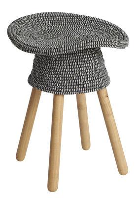 Tabouret Coiled / H 54 cm - Bois & assise rotin - Umbra Shift bois naturel,gris chiné en tissu