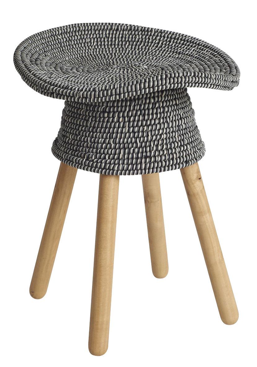 Mobilier - Tabourets bas - Tabouret Coiled / H 54 cm - Bois & assise rotin - Umbra Shift - Gris chiné / Bois naturel - Acier, Bois de Gmelina, Fil polypropylène, Rotin