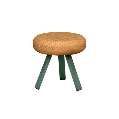 Mobilier - Tabourets bas - Tabouret Smack / H 35 cm - Matière Grise - Olive / Chêne - Acier laqué époxy, Chêne massif