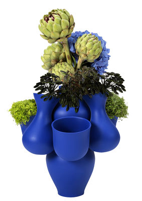 Interni - Vasi - Vaso Qucha - / Ø 40 x H 40 cm - Ceramica fatta a mano di Moustache - Pacha / Blu - Ceramica smaltata