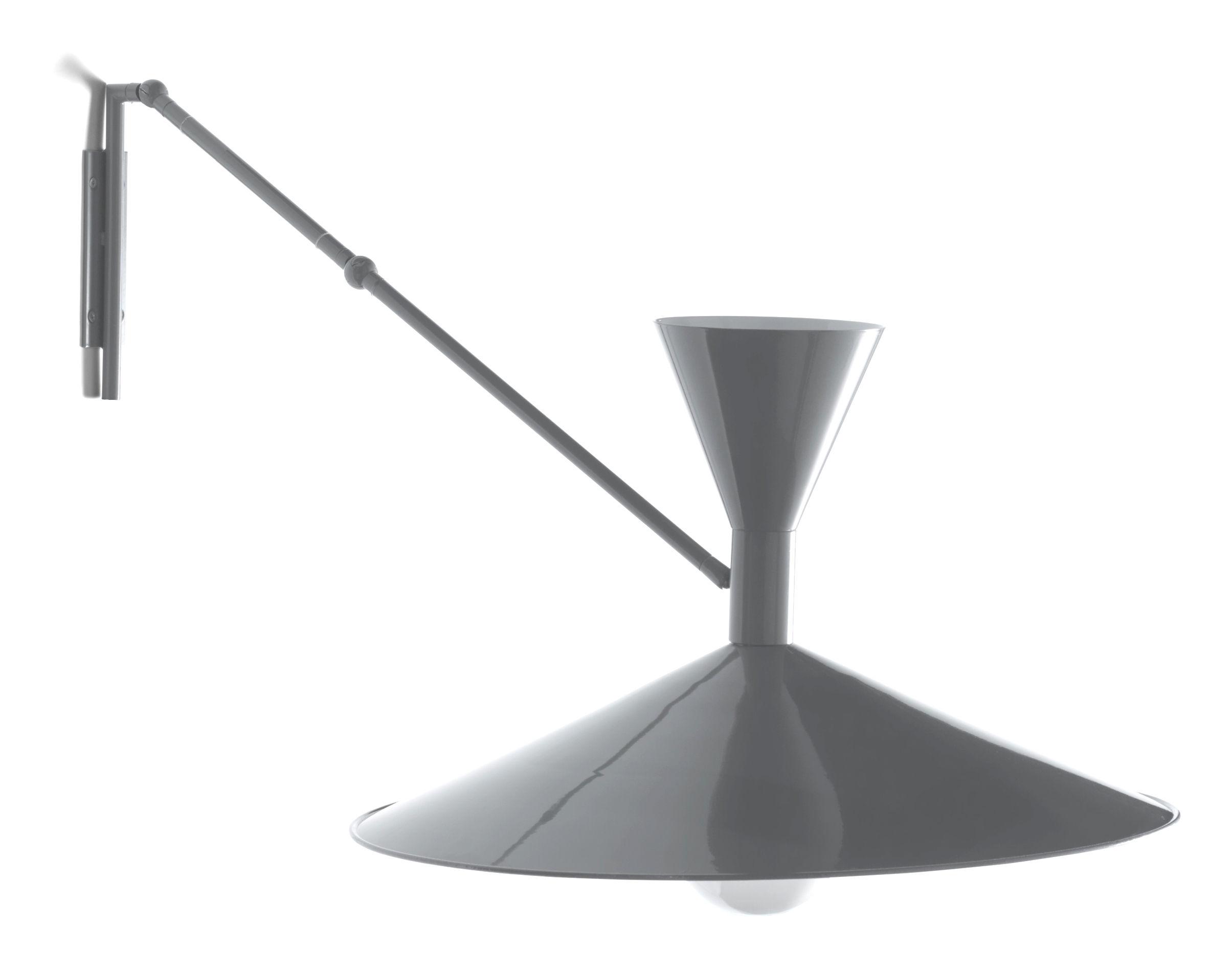 Leuchten - Wandleuchten - Lampe de Marseille Wandleuchte mit Stromkabel von Le Corbusier - Neuauflage des Originals von 1954 - Nemo - Grau, matt / Innenseite weiß, glänzend - Metall