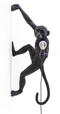 Luminaire - Appliques - Applique d'extérieur Monkey Hanging / H 76,5 cm - Seletti - Noir / Suspendu à droite - Résine