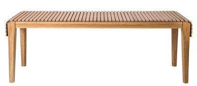 Furniture - Benches - Market Bench - Recycled leather by Petite Friture - Light wood / Black leather - Oak, Recycled leather