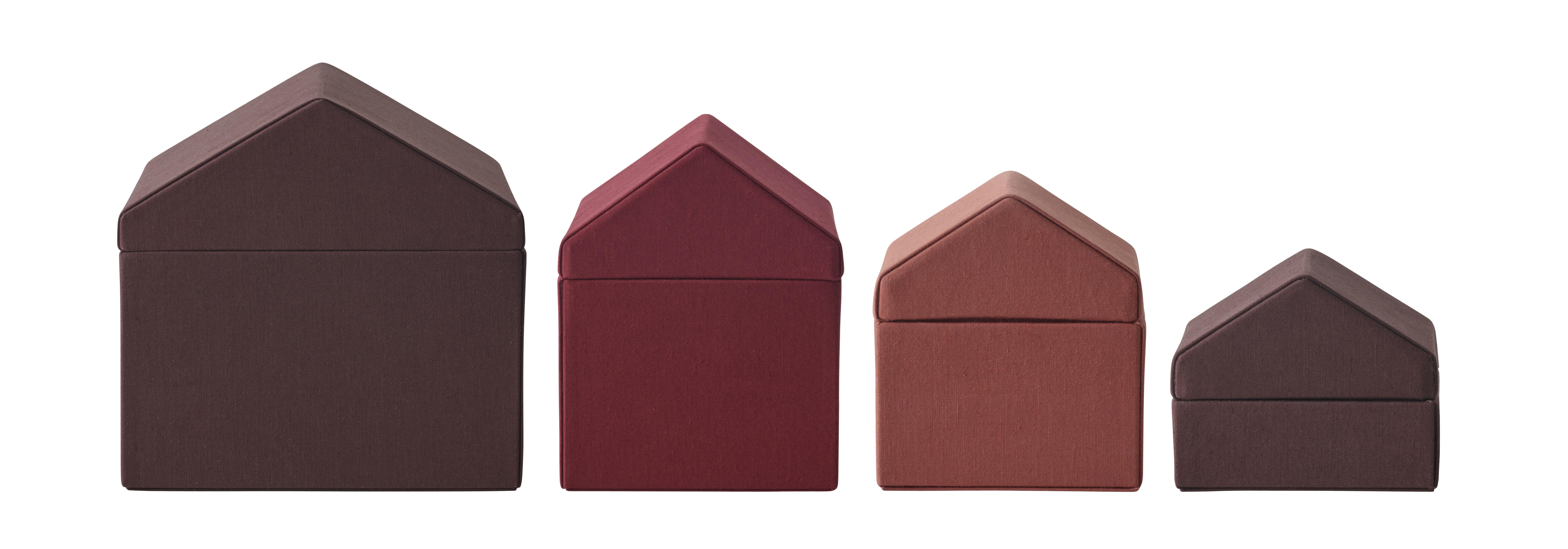 Déco - Boîtes déco - Boîte Traditional Houses / Set de 4 - Tissu - Fait main au Népal - Menu - Rouge - Carton, Coton