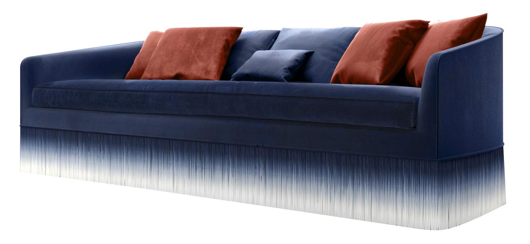 Mobilier - Canapés - Canapé droit Amami / 3 places, L 250 cm - Velours & franges - Moooi - Bleu - Bois, Mousse, Velours