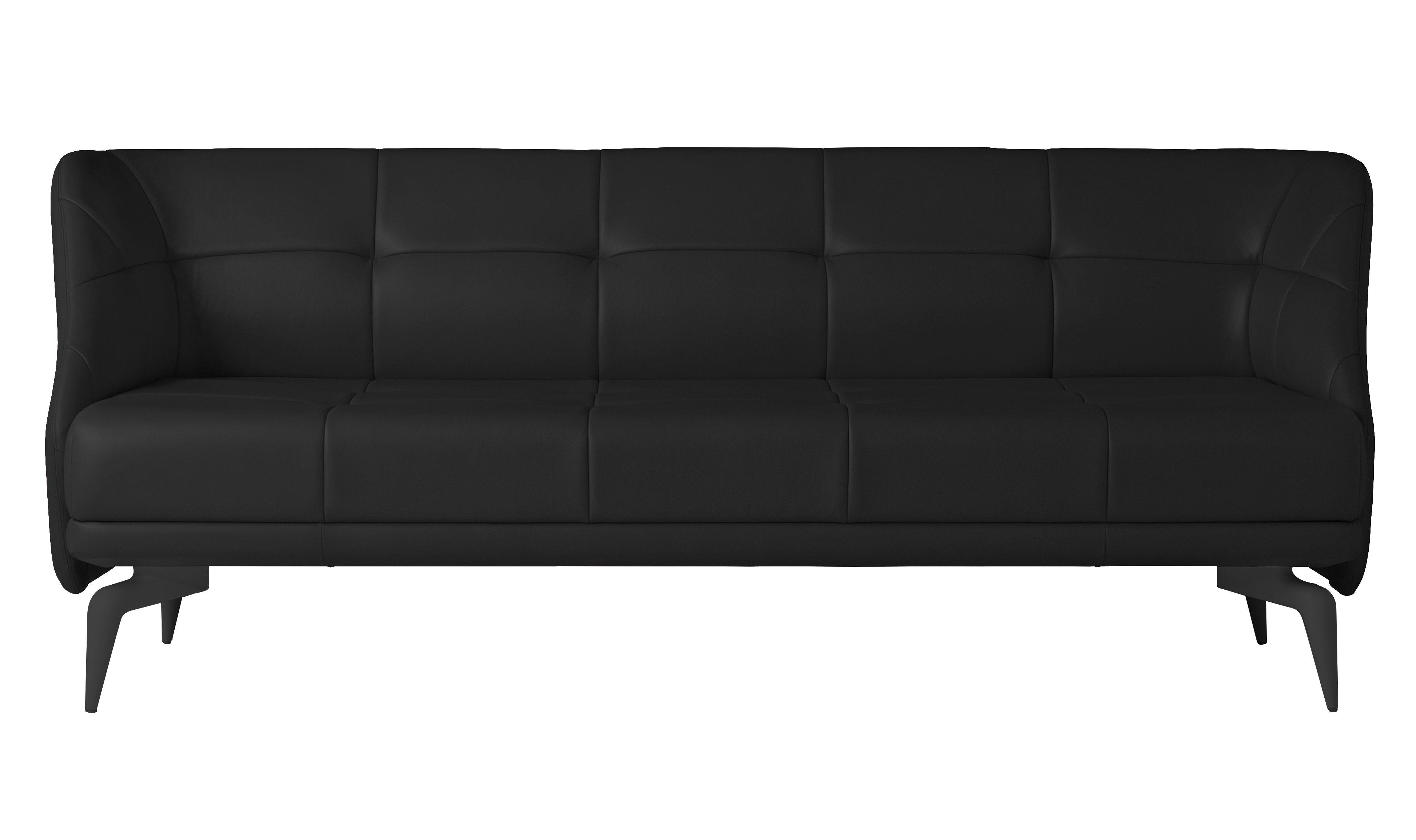 Mobilier - Canapés - Canapé droit Leeon / 3 places - L 212 cm - Driade - Cuir noir - Aluminium laqué, Cuir