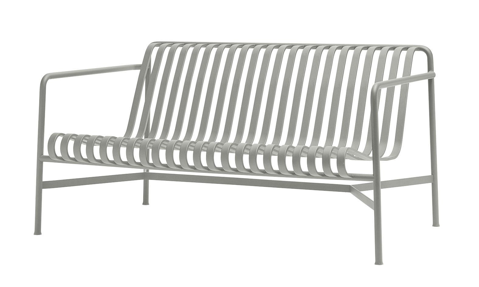 Outdoor - Canapés - Canapé droit Palissade Lounge / L 139 cm - R & E Bouroullec - Hay - Canapé / Gris clair - Acier électro-galvanisé, Peinture époxy