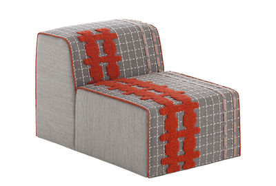 Canapé modulable Bandas / Chauffeuse - L 95 cm - Gan blanc,orange,gris en tissu