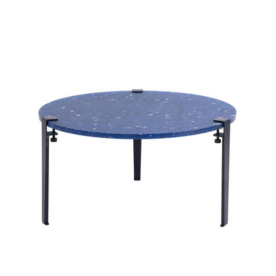 Furniture - Coffee Tables - Pacifico Coffee table - / Recycled plastic - Ø 80 x H 43 cm by TIPTOE - Blue - Powder coated steel, Recycled plastic