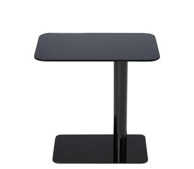 Möbel - Couchtische - Flash Couchtisch / Glas - 50 x 30 x H 40 cm - Tom Dixon - Schwarz / Schwarzer Fuß - Glas, lackierter Stahl