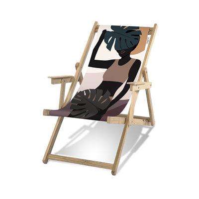 Outdoor - Sun Loungers & Hammocks - Guatemala Deckchair - / With armrests by PÔDEVACHE - Black woman / Multicoloured - Eucalyptus wood, Polyester cloth