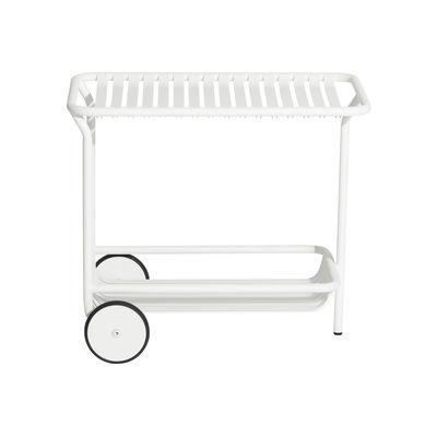 Desserte Week-End / Aluminium - Roulettes - Petite Friture blanc en métal