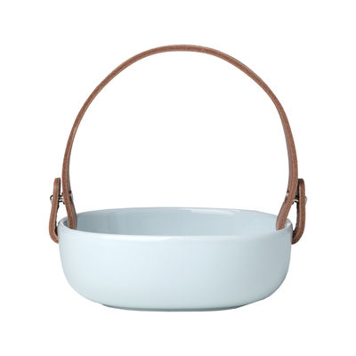 Tableware - Trays and serving dishes - Pikku Koppa Small Dish - / 12 x 13 cm - Removable leather handle by Marimekko - Aqua blue - Leather, Sandstone