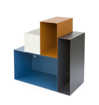 Etagère Kase / Etagère - 4 cases modulables aimantées - Presse citron bleu,rouille,grège,carbone en métal