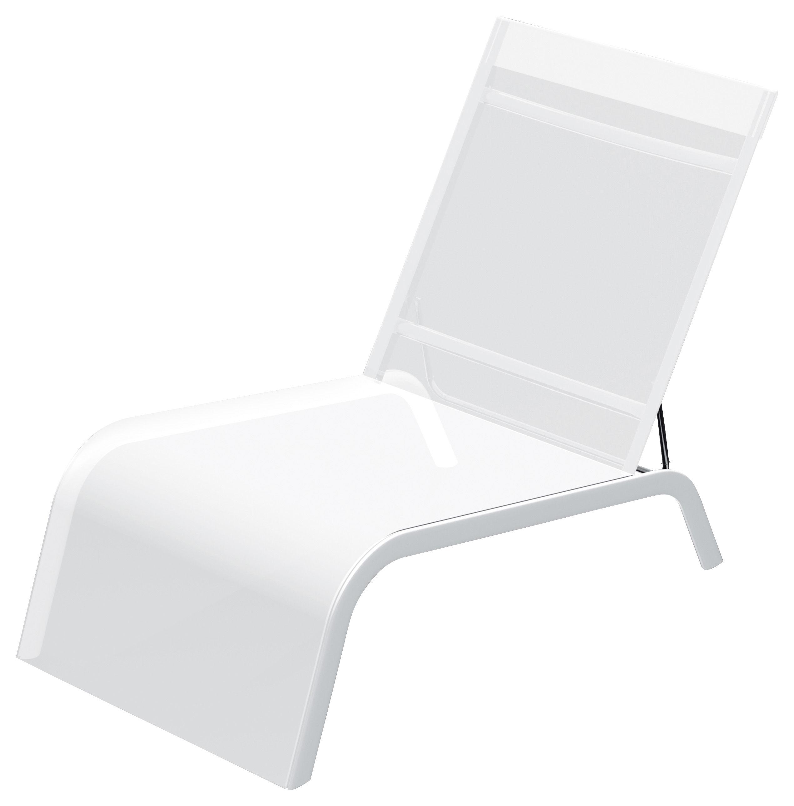 Outdoor - Chaises longues et hamacs - Fauteuil bas Lazy Yacht - Serralunga - Blanc - Aluminium, Toile Batyline