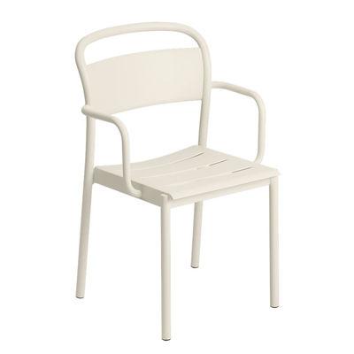 Mobilier - Chaises, fauteuils de salle à manger - Fauteuil empilable Linear / Acier - Muuto - Blanc - Acier