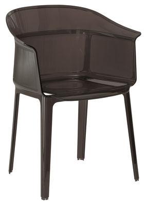 Mobilier - Chaises, fauteuils de salle à manger - Fauteuil empilable Papyrus / Polycarbonate - Kartell - Fumé marron - Polycarbonate
