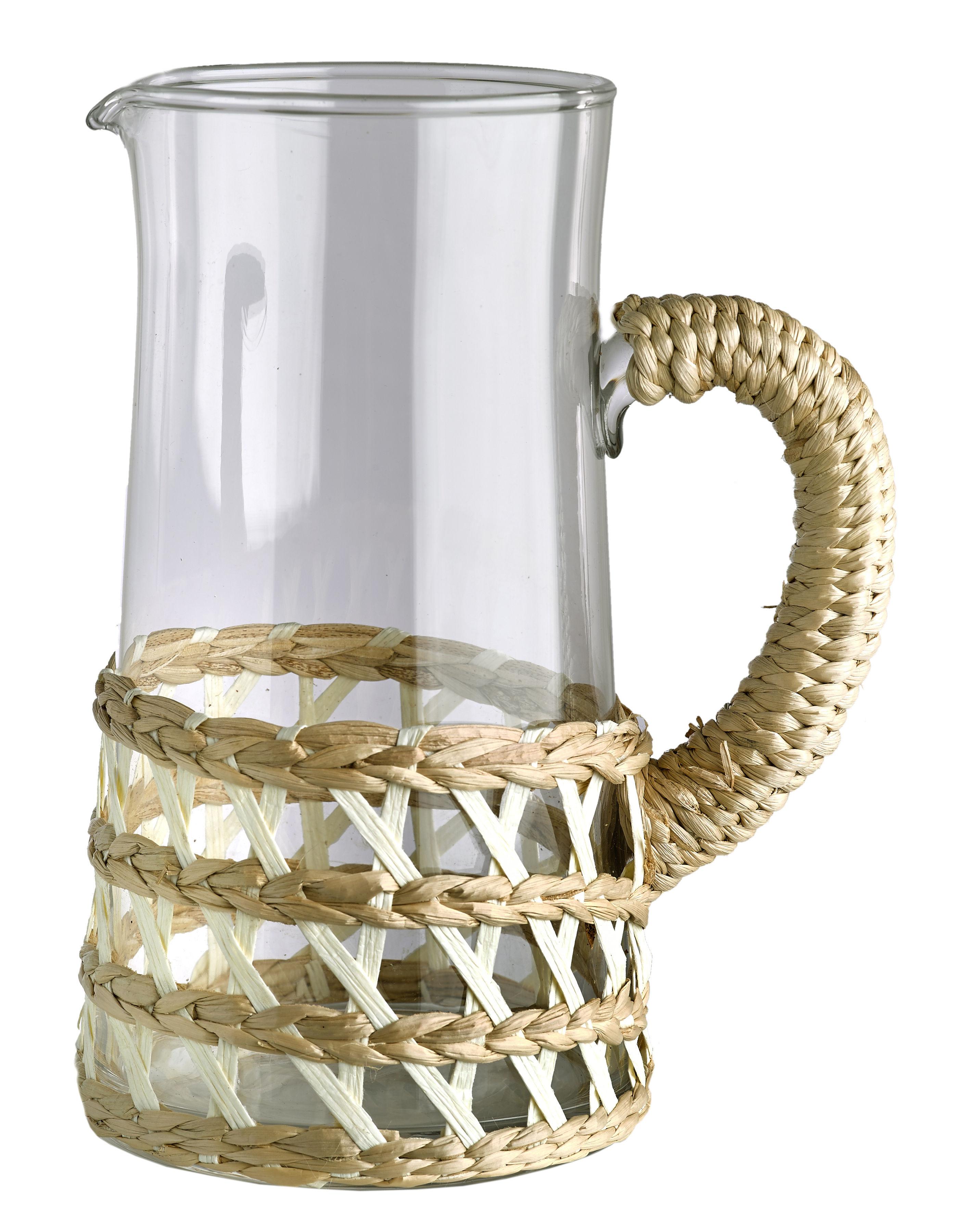 Tischkultur - Karaffen - Reed Karaffe / Glas & Schilfgeflecht - Pols Potten - Schilfgeflecht, natur & weiß - transparentes Glas - Glas, Osier