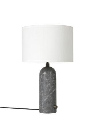 Illuminazione - Lampade da tavolo - Lampada da tavolo Gravity - / Small - Ø 30 x H 49 cm di Gubi - Marmo grigio / Paralume bianco - Marmo, Tessuto