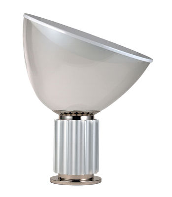 Lampe de table Taccia LED / Diffuseur plastique - H 54 cm - Flos blanc,argent,transparent en métal