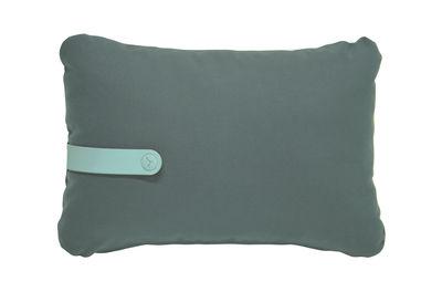 Decoration - Cushions & Poufs - Color Mix Outdoor cushion - 44 x 30 cm by Fermob - Safari green / Laguna blue stripe - Acrylic fabric, Foam, PVC