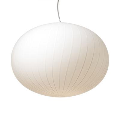Lighting - Pendant Lighting - Filigrana Ellipse Pendant - / White stripes -  Ø 45 cm by Established & Sons - White / White stripes - Acrylic, Metal, Mouth blown glass