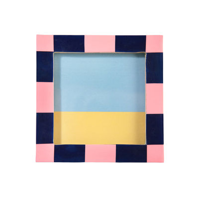 Decoration - Home Accessories - Check Square Photo frame - / 13 x 13 cm - Polyresin by & klevering - Pink - MDF, Polyresin
