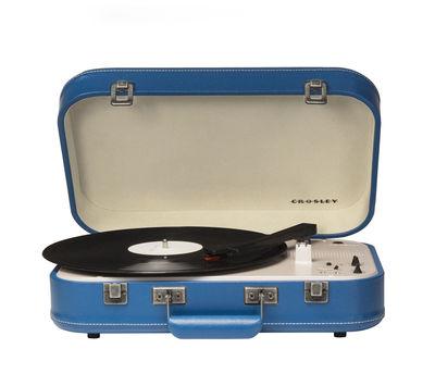 St-Valentin - Pour Lui - Platine vinyle Coupe / portable - Bluetooth - Crosley - Bleu / Similicuir - Bois, Feutre, Matière plastique, Similicuir
