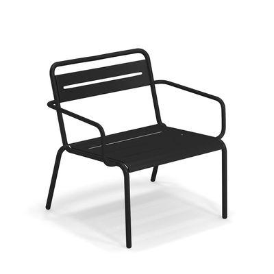 Arredamento - Poltrone design  - Poltrona bassa impilabile Star - / Metallo di Emu - Nero - Acciaio verniciato, Lamiera galvanizzata