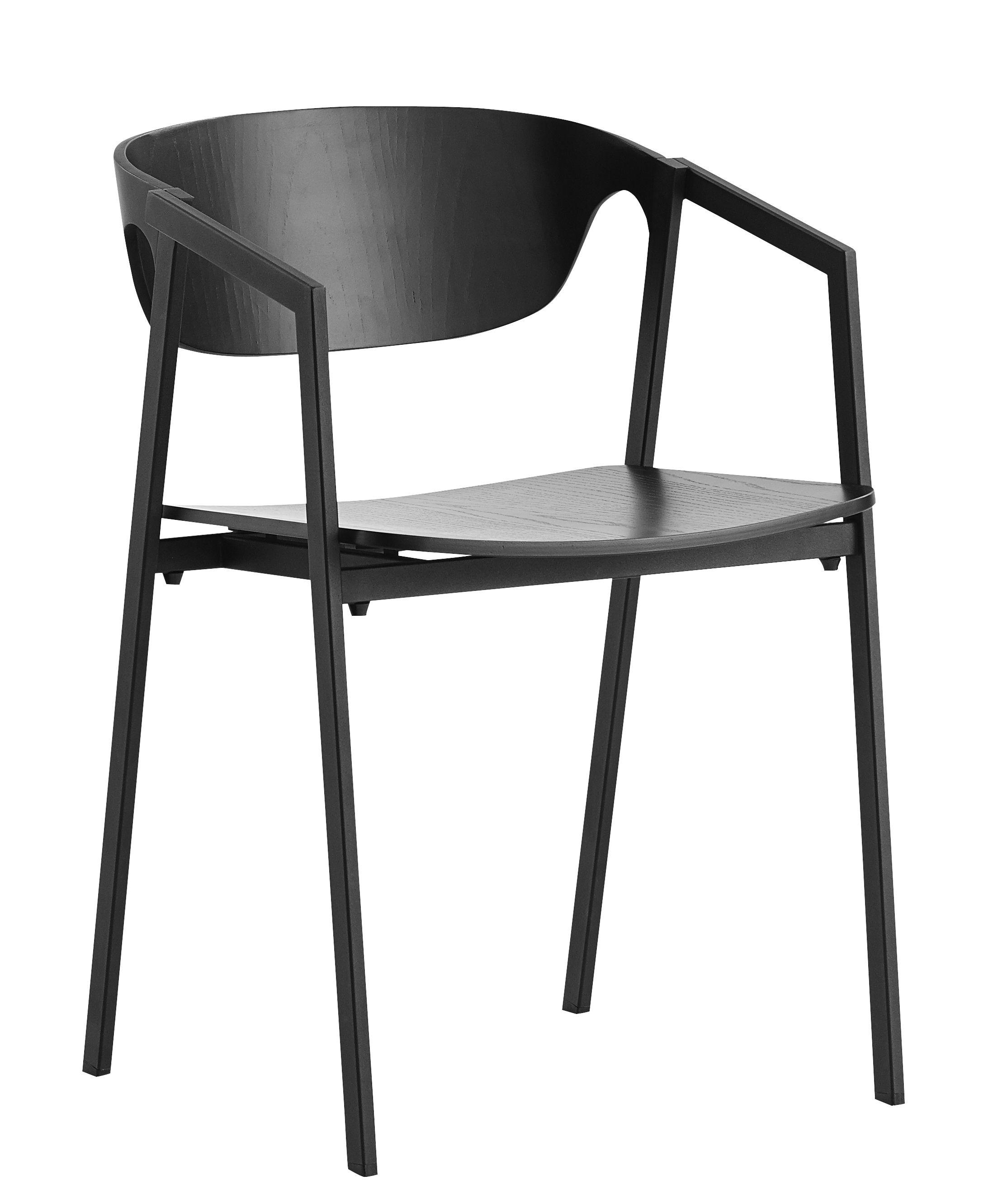 Arredamento - Sedie  - Poltrona impilabile S.A.C. / Metallo & legno - Woud - Noir - Compensato di rovere, Metallo