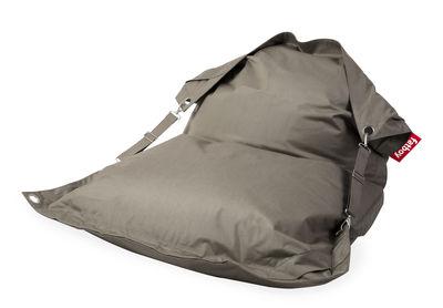 Pouf Buggle-up Outdoor / Sangles ajustables - Tissu acrylique - Fatboy L 190 x Larg 140 cm marron/gris en tissu