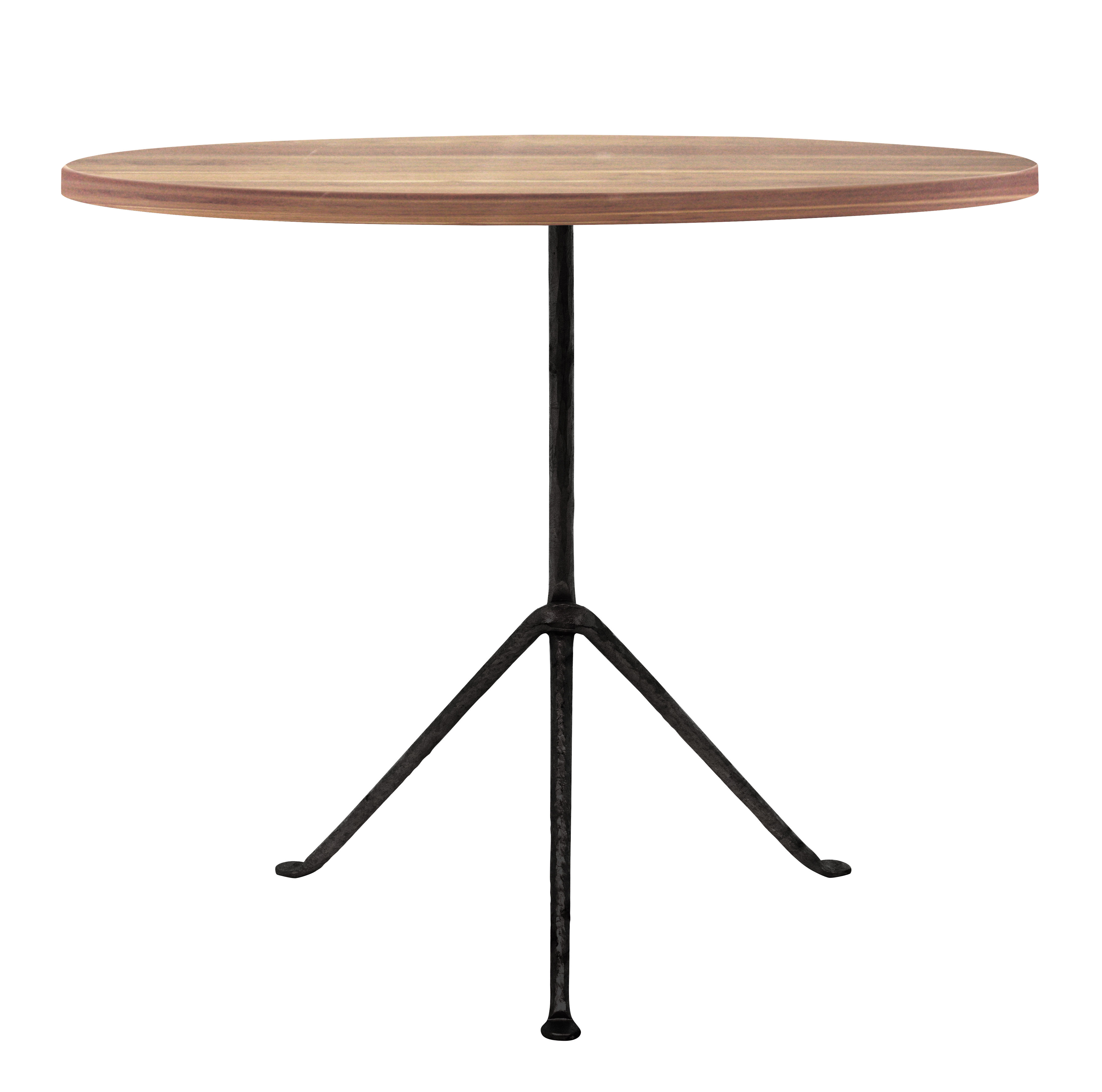 Outdoor - Garden Tables - Officina Outdoor Round table - / Ø 80 cm - Wood by Magis - Dark ash / Black legs - Heat treated ash, Varnished wrought iron