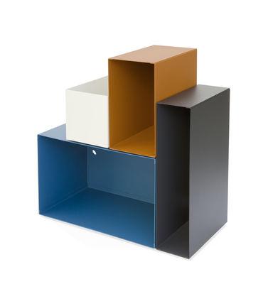 Arredamento - Tavolini  - Scaffale Kase - / Mensola - 4 scomparti modulabili calamitati di Presse citron - Blu - Acciaio laccato