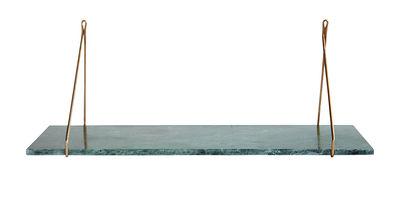 Arredamento - Scaffali e librerie - Mensola Marble / Marmo & ottone - L 70 cm - House Doctor - Marmo verde / ottone - Ferro placcato in ottone, Marmo