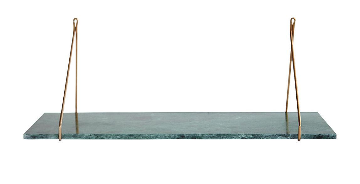 Arredamento - Scaffali e librerie - Mensola Marble / Marmo & ottone - L 70 cm - House Doctor - Marmo verde / ottone - Fer plaqué laiton, Marmo