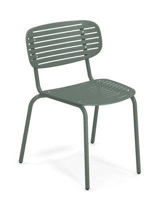 Arredamento - Sedie  - Sedia impilabile Mom - / Metallo di Emu - Verde scuro - Acciaio verniciato
